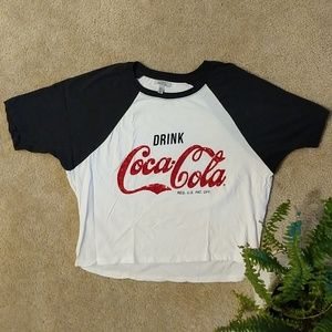 Zara Drink Coca Cola Graphic Tee with Red Sequins